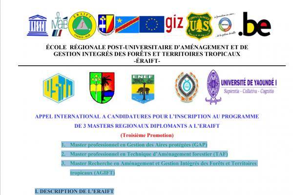 APPEL INTERNATIONAL A CANDIDATURES POUR L'INSCRIPTION AU PROGRAMME DE 3 MASTERS REGIONAUX DIPLOMANTS A L'ERAIFT